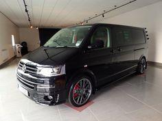 "Black T5 with Matt Grey Rim Polished SuperMetal Trident wheels in 20"" - Carlexvan"