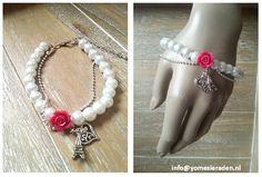 Armband From Paris..... Witte parel armband met roze roosje gecombineerd met een bailchain ketting en bedels.