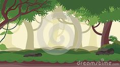 Flat cartoon nature forest scenery landscape vector illustration with seamless design, Layered ground, grass, trees