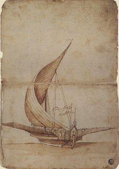 Raffaello - Studio di una galea - inizio del secolo XVI - Tracce di matita, penna, acquerellature marroni su carta bianca - Venezia, Gallerie dell'Accademia