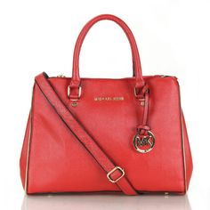 Michael Kors Sutton Saffiano Leather Large Red Satchels, Your First Choice