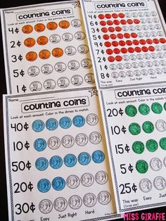 Adding like coins worksheets that are differentiated! Lots of ideas on this post!