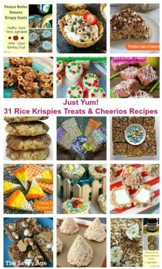 Just yum! 31 easy and homemade Rice Krispies Treats and Cheerios recipes!