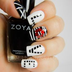 Love #NailArt with Zoya Nail Polish in Purity and Zoya Raven via the Manicurator!
