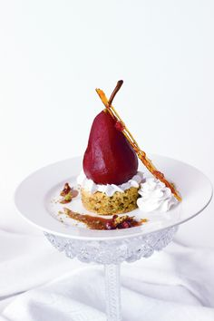 Vegan Orange Pistachio Cake with Spiced Pomegranate Cabernet Poached Pear and Coconut Whipped Cream