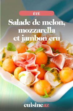 Une recette de salade sucrée salée avec du melon, de la mozzarella et du jambon cru. #recette#cuisine #salade #melon #fromage #mozzarella #jambon Fruit Salad, Cantaloupe, Food, Balsamic Vinegar, Chopped Salads, Italian Cheese, Fruit Salads, Essen, Meals