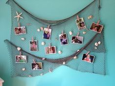 Mermaid inspired DIY room décor. 1. Spray paint a fishing net and hot glue shells from your last mermaid vacation. 2. Hang all your pictures and FINtastic crafts using painted clothes pins. #finfun #mermaids #mermaidtail #DIY #mermaidroom #mermaidparty #underthesea