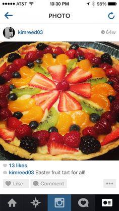 Organic fresh fruit tart! Fresh Fruit Tart, Fruit Salad, Spoon, Catering, Organic, Treats, Dishes, Sweet Like Candy, Fruit Salads