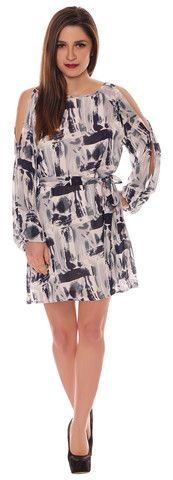 Alison Navy Ivory Chiffon Style Cut Out Cold Shoulder Belted Shift Dress