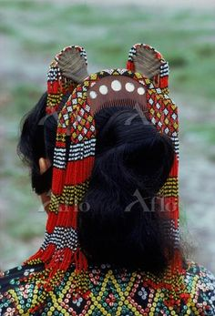 Close-up of head-dress of comb and beads of a woman of the T'boli tribe in southern Mindanao, Philippines, Asia