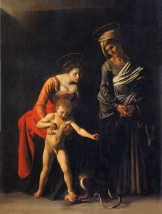CARAVAGGIO Michelangelo Merisi - Italian (1571 - 1610) -  Madonna and Child with St. Anneenieri)