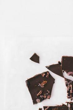 chocolate bark with cacao nibs + fleur de sel.