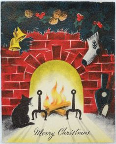 #559 40s Norcross Cat By the Hearth-Vintage Christmas Greeting Card