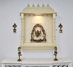 Pooja Mandirs USA - Vishaka Collection - Wall Hanging Mandirs Wooden Temple For Home, Rajasthani Art, Pooja Mandir, Pooja Rooms, Candle Sconces, Wall Lights, Usa, Frame, Collection