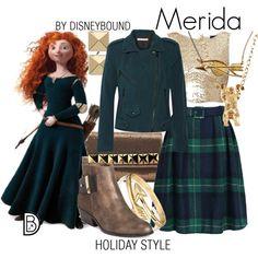 Disney Bound: Merida from Disney's Brave (Holiday Style Outfit) Disney Princess Outfits, Disney Themed Outfits, Disney Bound Outfits, Disney Dresses, Disney Clothes, Estilo Disney, Disney Inspired Fashion, Disney Fashion, Women's Fashion