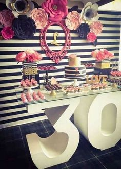Black white pink and a little golden Birthday Party Ideas Black