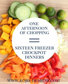 Overwhelmed with the idea of cooking from scratch every night? You don't have to! With one afternoon, a little planning, and some chopping, you'll have 14 dinners ready to pop into the crockpot whenever you're ready. Head on over to kojodesigns to get all the recipes