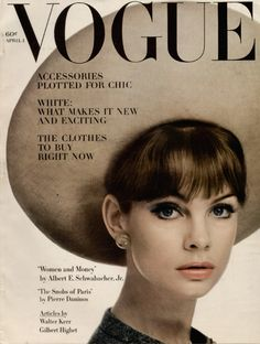 May 1963 British VOGUE cover of Jean Shrimpton in a Dior hat, ph0t0 taken by William Klein . thanks to Pamela De Santa Fe board for this