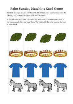 Here is a simple game to play at home or at church that will help to introduce the key symbols of the Palm Sunday story- palm leaves, donkey, robes laid down on the floor and a crown to symbolise Jesu Sunday Activities, Preschool Games, Easter Activities, Toddler Sunday School, Sunday School Lessons, Bible Lessons, Lessons For Kids, Palm Sunday Story, Palm Sunday Craft