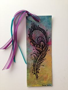 Items similar to Hand painted acrylic ink PEACOCK FEATHER rainbow bookmark // great GIFT for any book lover and book reader // gem tones, zentangle style on Etsy Creative Bookmarks, Diy Bookmarks, Cool Paper Crafts, Book Crafts, Watercolor Bookmarks, Watercolor And Ink, Happy Birthday Cards Handmade, Learn To Sketch, Mandala Artwork