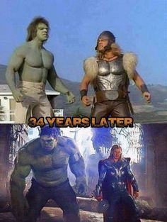 Hulk and Thor 34 years later, see the difference
