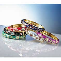 cloisonné bangle bracelets  I don't wear these, but i would! they are pretty