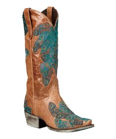 Peacock Tail Feather Cowboy Boot