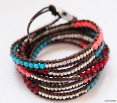 Image detail for -Natural Coral Turquoise Silver Bead Handmade 5 Wrap Leather Bracelet ...