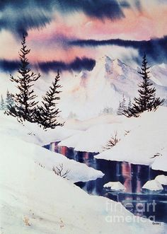 Cold Creek. watercolor, 15 x 22