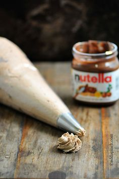 Nutella Buttercream Frosting: 1 c unsalted butter, softened; 4 c confectioner's sugar, sifted; ½ cup Nutella; 1 T vanilla extract; 2 T half-and-half, heavy cream or whole milk; pinch of salt