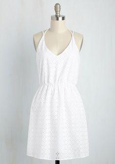 Grad Tidings Dress - Solid, Eyelet, Casual, Sundress, A-line, Sleeveless, Summer, Woven, Good, Cotton, Mid-length, White