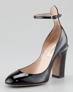 Patent Thick-Heel Ankle-Wrap Pump by Valentino at Neiman Marcus.