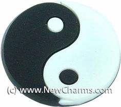 Ying Yang Shoe Rubber Charm for Wristbands and Shoes Black