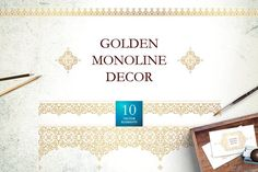 Golden Monoline Decor Vol. 2 by O'Gold! on @creativemarket