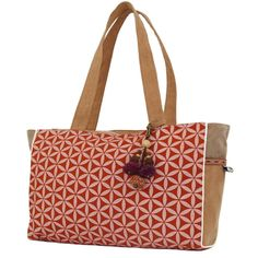 "Flower of Life Every Day Bag Terracotta/Cream - Global Groove (B). The ""Flower of Life"" bag is 9 inches tall by 15 inches wide and 4.5 inches deep, it features a clip-on toggle, zipped main pocket with inside zipped pocket and two side pockets that are perfect for your phone and sunglasses. Easy-wipe -clean and easy-see lining with 24-inch straps."