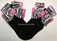 Zebra Hot Pink Black Bow Socks Baby Girls Toddler Pageant Boutique Accessory #AccessoriesbyMe #CuffSocks