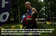 One Amazing Father Finishes A Triathlon.Carrying His Daughter With Cerebral Palsy Across The Finish Line - The Bert Show We Are The World, In This World, Weekender, Touching Stories, Faith In Humanity Restored, Cerebral Palsy, Fathers Love, Motivational Pictures, Inspirational Quotes