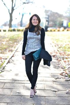 Layering a sequin tank to give it new life this holiday season via Peaches In A Pod blog.  Cute New Year's Eve outfit idea for women.