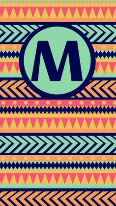 'M' monogram matching lock & home screen phone wallpapers