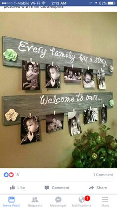 Dreamy Bathroom & Kitchen Remodel Ideas Is a Must in Summer Homes DIY Family Photo Wall Hanging….Every Family Has a Story, Welcome to Ours! Such a great idea! The Best of home decor ideas in Home Crafts, Diy Home Decor, Diy Crafts, Cadre Photo Diy, Pallet Pictures, Home And Deco, Photo Displays, Diy Projects To Try, Wood Projects