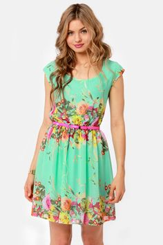 Bloomsday Mint Backless Floral Print Dress... reminds me of lucy liu's dress at the golden globes... so pretty :)