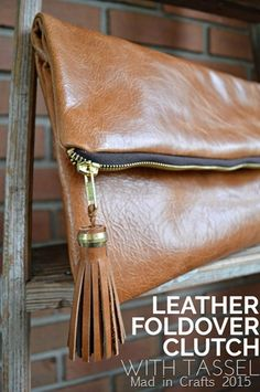 Leather Foldover Clutch with Tassel tutorial