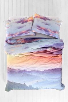sunset sunset print bedspread bedcover bedding holiday gift bedding clouds sky bedcover pajamas cute pink white blue purple orange pastel hair accessory top