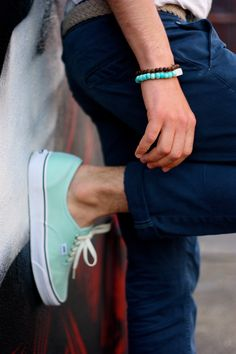 got my (mint) vans on, but they look like sneakers. Mint Vans, Mint Shoes, Green Vans, Pastel Vans, Mint Converse, Bright Shoes, Mens Fashion Blog, Fashion Moda, Look Fashion