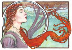 This is the 17th Art Nouveau/Alphonse Mucha inspired watercolor painting in a series I'm producing. The painting is on 18x24 inch Strathmore Cold Press watercolor paper. Done in watercolors a...