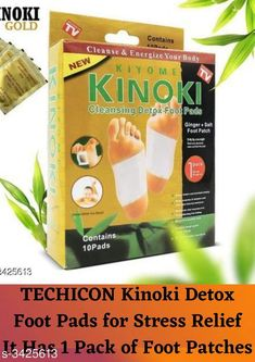 Health Equipments (Diabetic Care Etc) TECHICON Kinoki Detox Foot Pads for Stress Relief Sleep - Remove Toxins, Rest and Pain-Free, Premium Organic Adhesive Golden Foot Patches 10 Pcs - 5 Days Therapy Product Name: TECHICON Kinoki Detox Foot Pads for Stress Relief Sleep - Remove Toxins Rest and Pain-Free Premium Organic Adhesive Golden Foot Patches 10 Pcs - 5 Days Therapy Product Type: Foot Patches Size: Free Size Material: Cotton Quantity: 10N Package Contains: It Has 1 Pack of Foot Patches Country of Origin: India Sizes Available: Free Size   Catalog Rating: ★4.1 (1608)  Catalog Name: Premium Choice Health Utility Vol 8 CatalogID_475906 C125-SC1574 Code: 251-3425613-981
