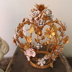 French statement crown painted pink and gold by AnitaSperoDesign