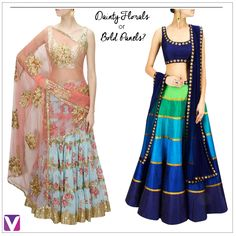 What is your Lehenga Style? Shop these Statement Lehengas by Product Code: (Left - 4743374, Right - 4743439). #lehengas #statementlehengas #florallehengas #urbanlehengas #contemporarylehengas #ethnicwear #festivewear #onlineshopping #voonik