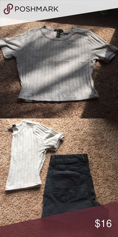Forever 21 ribbed crop top Super cute forever 22 crop top. Outfit pictured for sale upon request! Forever 21 Tops Crop Tops