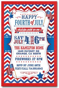 Digital Printable 4th Of July Birthday Invitations Invitation Templates Invites